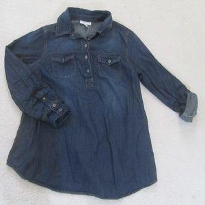Liz Denim Maternity Top Blue Jean Blouse Tunic Top